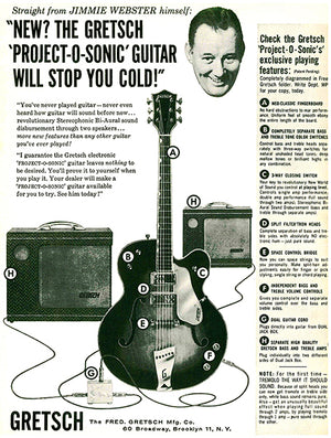 1958 Gretsch Guitar - Webster Project-O-Sonic - Promotional Advertising Poster