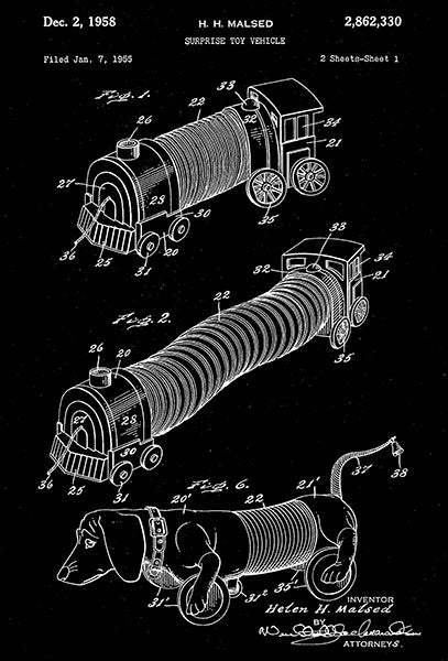 1958 - Slinky Toy Vehicle - H. H. Malsed - Patent Art Poster