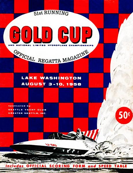 1958 Gold Cup & Hydroplane National Championships - Lake Washington - Program Cover Magnet