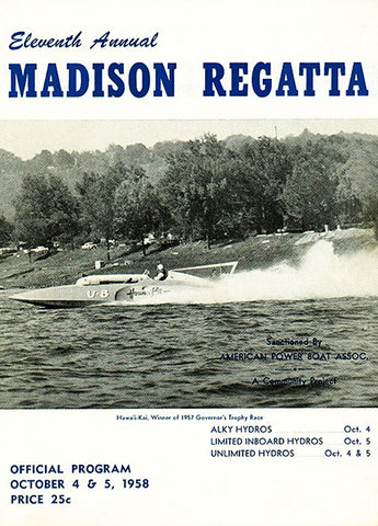 1958 Madison Regatta Boat Race - Madison Indiana - Program Cover Poster