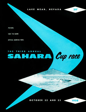 1958 Sahara Cup Boat Race - Lake Mead Nevada - Program Cover Poster