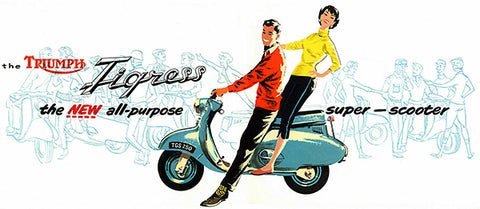 1958 Triumph Tigress - Super Scooter - Promotional Advertising Poster