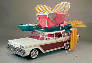 1959 Ford Country Squire With Pushbutton Camper - Promotional Photo Poster