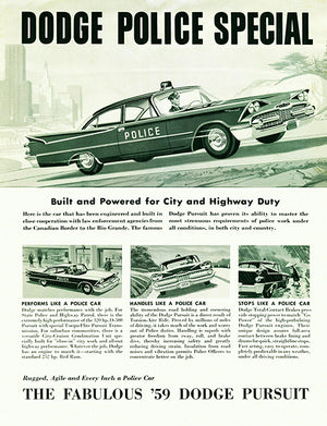 1959 Dodge Pursuit Police Special - Promotional Advertising Poster