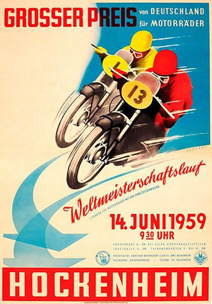 1959 German Motorcycle Grand Prix Race - Promotional Advertising Magnet