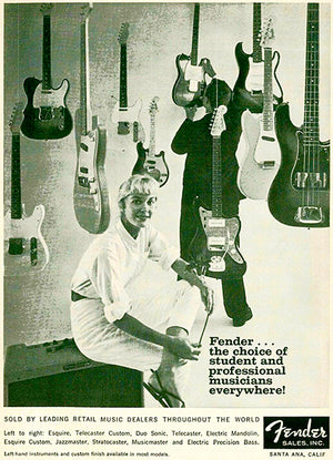 1960 Fender Guitar & Bass Line - Promotional Advertising Poster