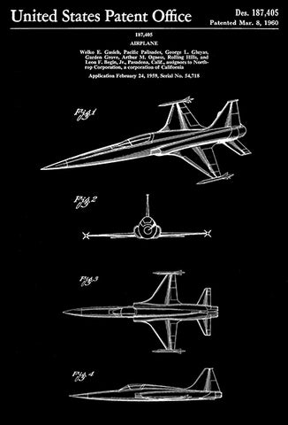 1960 - Lockheed F-104 Starfighter Airplane - W. E. Gasich - Patent Art Poster