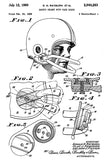 1960 - Football Safety Helmet With Face Guard - D. H. Rayburn - Patent Art Poster