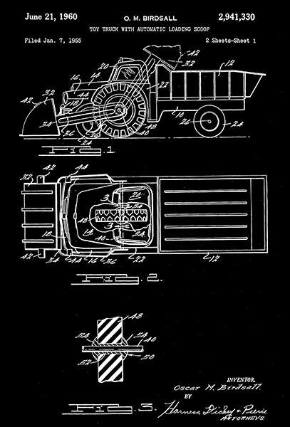 1960 - Toy Truck With Automatic Loading Scoop - O. M. Birdsall - Wyandotte - All Metal Products - Patent Art Mug