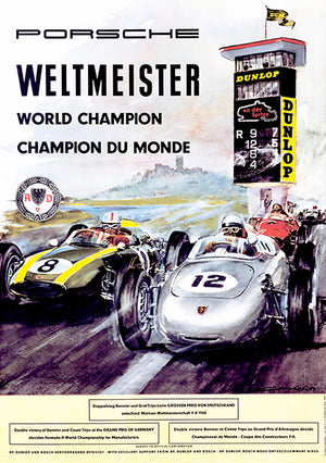 1960 Porsche - Weltmeister World Champion - Promotional Advertising Poster