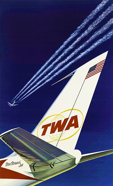 1960 TWA - Star Stream Jet - Promotional Advertising Poster