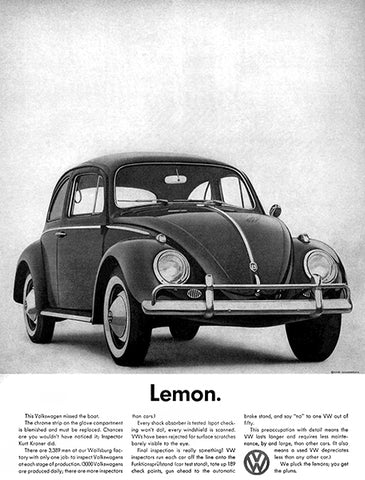 1960 VW Beetle - Lemon - Promotional Advertising Poster