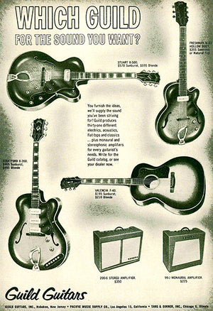 1961 Guild Guitars - Which Guild For The Sound You Want - Promotional Advertising Poster
