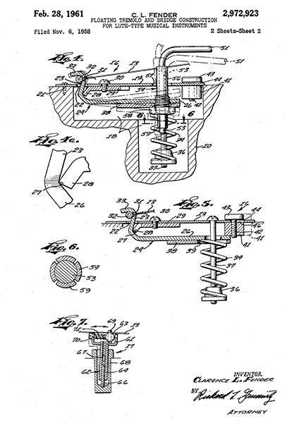 1961 - Floating Tremolo And Bridge Construction - C. L. Fender - Patent Art Mug