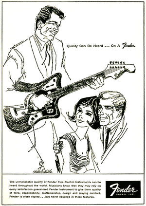 1962 Fender Guitars - Quality Can Be Heard - Promotional Advertising Poster