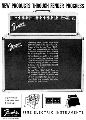 1962 Fender Showman Guitar Amp - Promotional Advertising Poster