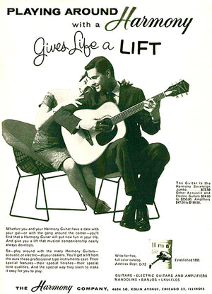 1962 Harmony Sovereign Guitar - Promotional Advertising Poster
