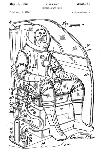 1962 - Mobile Space Suit - C. P. Lent - Patent Art Poster