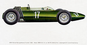 1962 BRM Formula 1 Race Car - Promotional Illustration Poster