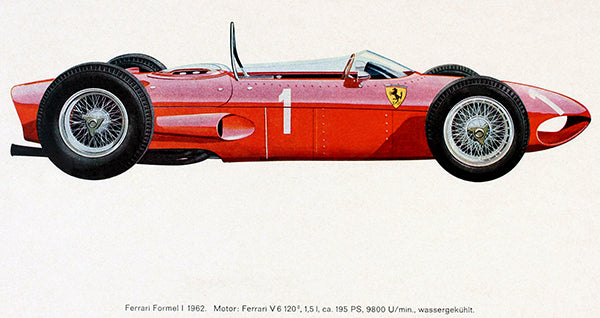 1962 Ferrari Formula 1 Race Car - Promotional Illustration Poster