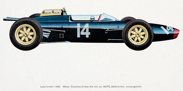 1962 Lola Formula 1 Race Car - Promotional Illustration Poster