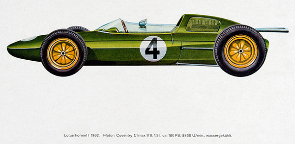 1962 Lotus Formula 1 Race Car - Promotional Illustration Poster