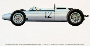 1962 Porsche Formula 1 Race Car - Promotional Illustration Poster