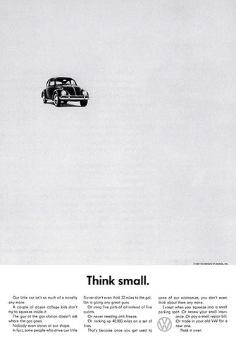 1962 Volkswagen VW Beetle - Think Small - Promotional Advertising Poster