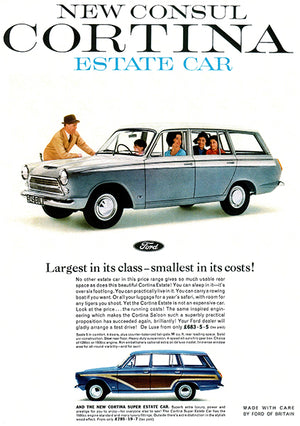 1963 Ford Consul Cortina Estate Wagon - UK - Promotional Advertising Poster