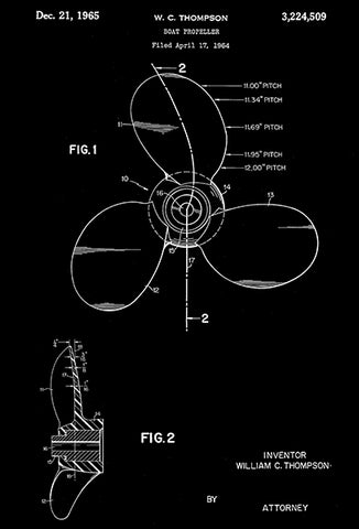 1965 - Boat Propeller - W. C. Thompson - Patent Art Poster