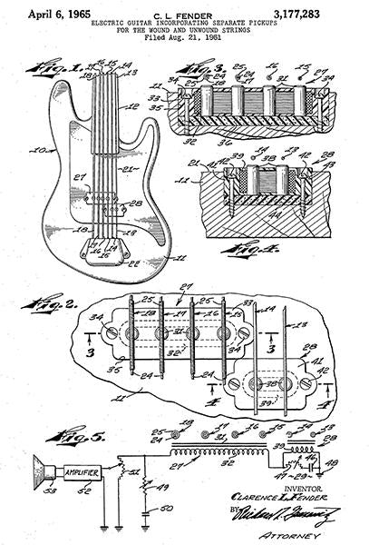 1965 - Fender Electric Guitar Pickups - Patent Art Mug