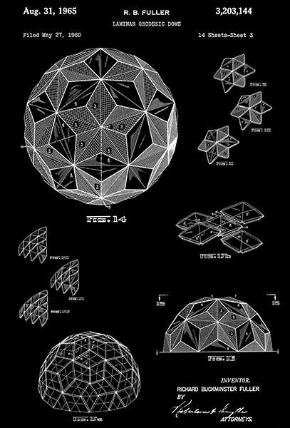 1965 - Laminar Geodesic Dome - Richard Buckminster Fuller - Patent Art Mug
