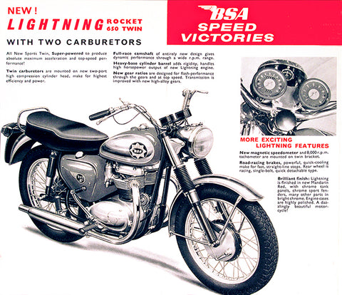 1965 BSA Lightning Rocket 650 Twin - Promotional Advertising Poster