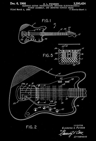 1966 - Fender Electric Guitar - Electromagnetic Pickup - Patent Art Poster