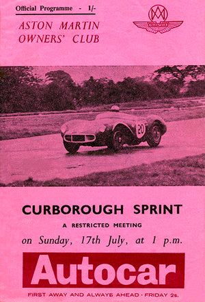 1966 Aston Martin Owners' Club - Curborough Sprint - Program Cover Poster
