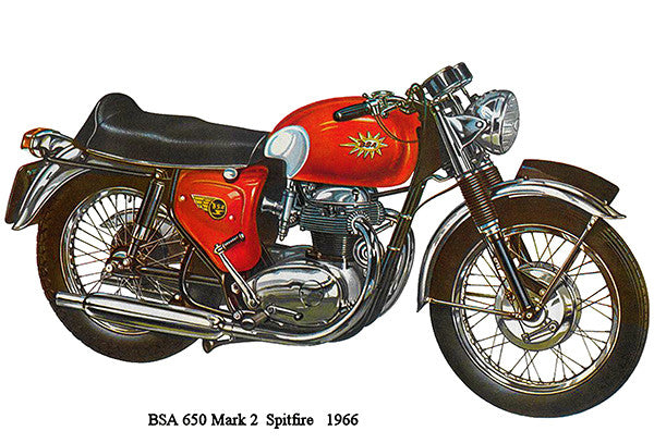 1966 BSA 650 Mark 2 Spitfire - Promotional Advertising Poster