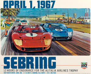 1967 Sebring 12 Hour Race - Promotional Advertising Poster