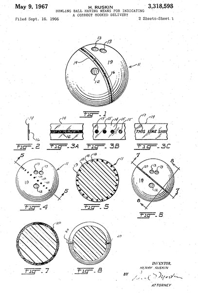 1967 - Bowling Ball - Correct Hooked Delivery - H. Ruskin - Patent Art Poster