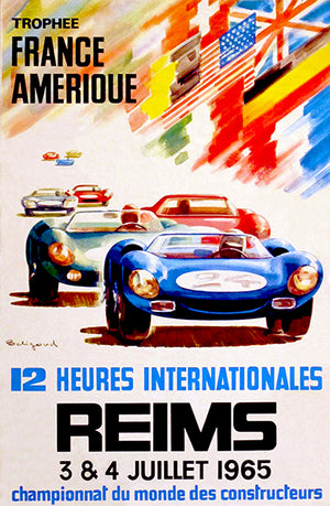 1965 12 Heures Internationales de Reims Race - Promotional Advertising Poster