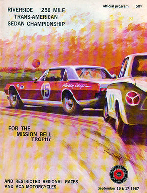 1967 Riverside 250 Mile Trans American Sedan Championship Race - Program Cover Poster