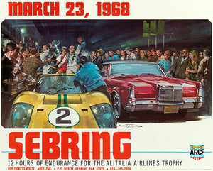 1968 Sebring 12 Hour Race - Promotional Advertising Poster