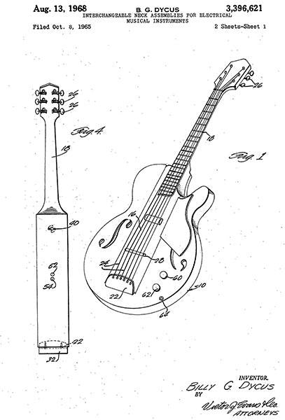 1968 - Guitar - Interchangeable Neck Assemblies For Electrical Musical Instrument - Patent Art Mug