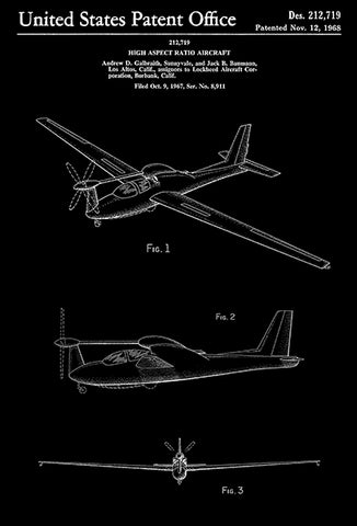 1968 - Lockheed QT-2 Q-Star Observation Aircraft - A. D. Galbraith - Patent Art Poster