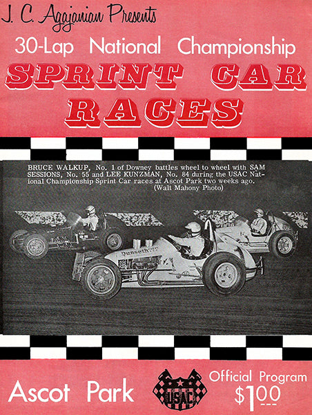 1968 Sprint Car Races - Ascot Park - Program Cover Poster