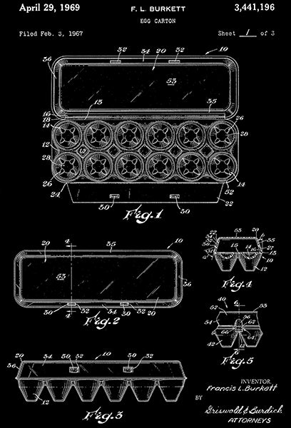 1969 - Egg Carton - F. L. Burkett - Patent Art Poster