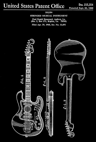 1969 - Guitar - Stringed Musical Instrument - P. D. Broussard - Patent Art Poster