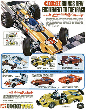 1969 Corgi Toys Brings New Excitement To The Track - Advertising Poster