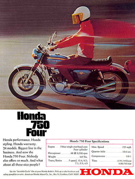 1969 Honda CB 750 Four - Promotional Advertising Poster