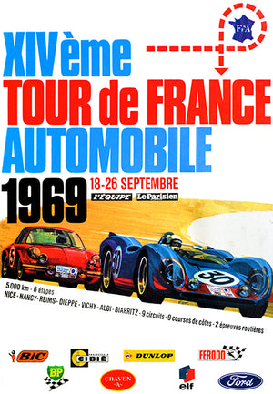 1969 Tour de France Automobile Race - Promotional Advertising Poster