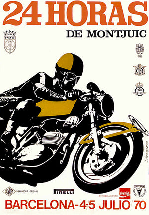 1970 24 Hours Of Montjuic Motorcycle Race - Barcelona Spain - Promotional Poster